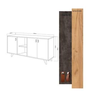 Sideboard Planky - Hellbraun und Schwarz