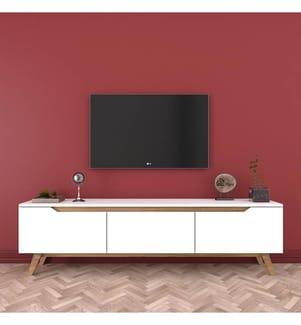 TV-Möbel - Weiss und Hellbraun