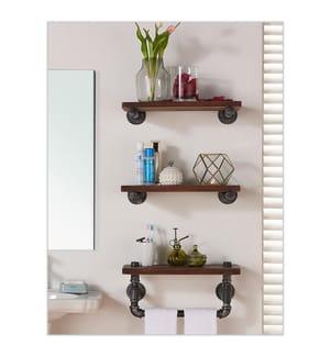 Holz-Wandregal 40 x 5 x 12 cm - Braun und Schwarz