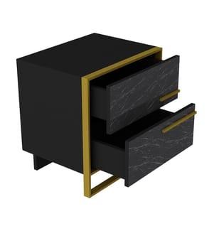 Nachttisch Polka - Schwarz und Gold