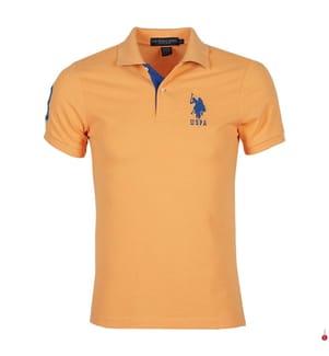 Poloshirt Big Logo - Hellorange und Blau