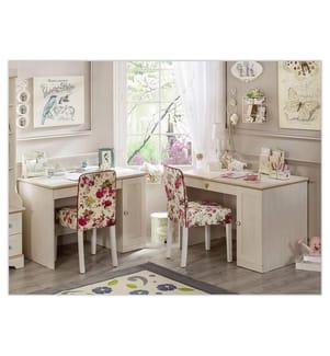 Schreibtisch Flower - Hellrosa und Hellbraun