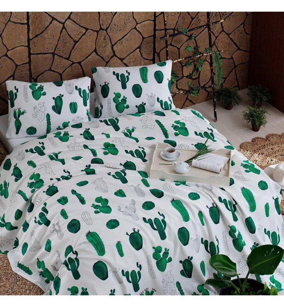 Tagesdecke Kaktus - 155 x 200 cm