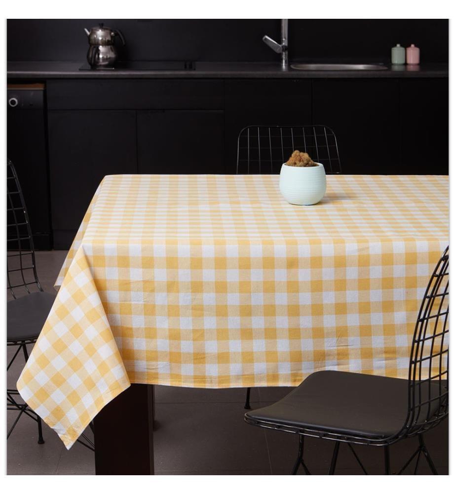 Tischdecke - Dunkelgelb und Weiss