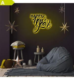 Wandleuchte Happy New Year - Gelb