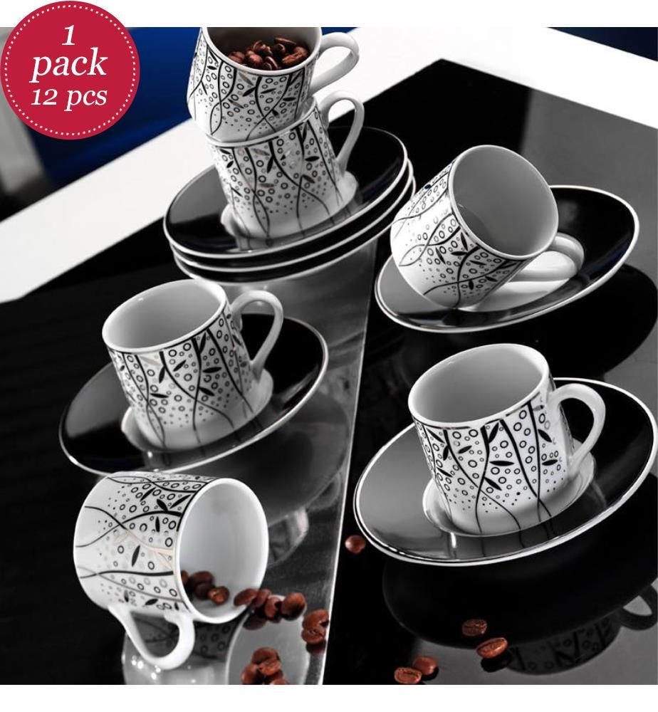 12-Teiliges Kaffee-Service - Weiss und Schwarz