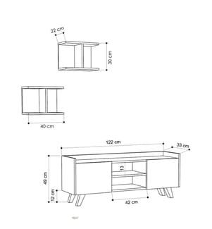 HOME - TV- Möbel Home Trap - Weiss und Beige