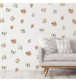AMBIANCE STICKER - Sticker Roses et Anémones - 30 x 30 cm