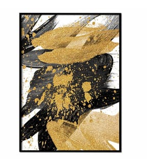 ART STUDIO - Gerahmtes Bild Pinceladas Dorado, Negro y Gris - 50 x 70 cm