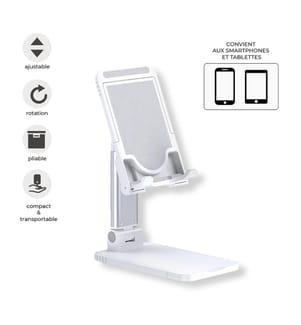 Universale ausziehbare Handy-/Tablethalterung für das BüroWeiss
