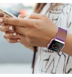 Armband Apple Watch 38-40 mm Metallisch Rosa Regenbogen  (Verkauf ohne Uhr)