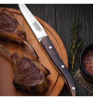 """TRAMONTINA - Steakmesser """"French Style"""" 4"""" braun Mikrozahnung, 22.5 cm, 12 Stück"""